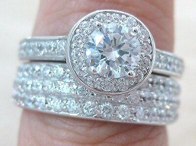 100% Real 925 Sterling Silver Round Cz Bridal Set Engagement & Wedding Rings