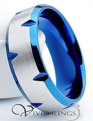 Mens Stainless Steel Ring Blue Edge Faceted Band 316L 8mm Size 7 to 15