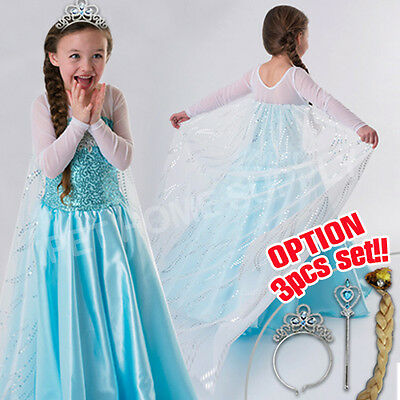 New Girls FROZEN ELSA QUEEN Princess Birthday Costume Party Dress Size 3-10 Yrs