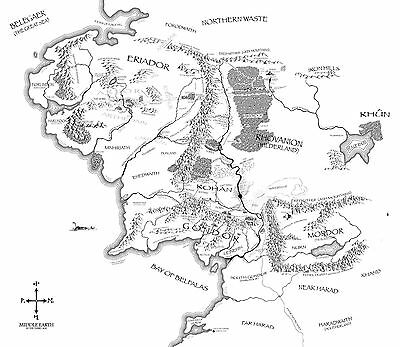 Vintage Map of Middle Earth (Picture Poster Lord of the Rings Moive Film Art)