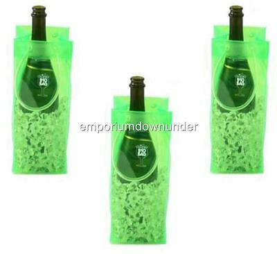 BYO Ice Bag Green x3 Beer Wine Drink Bottle Champaghne Chiller Carry Christmas