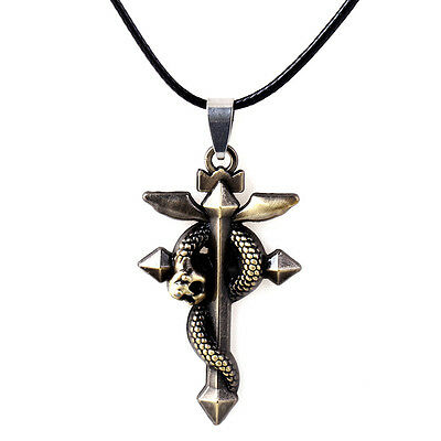 Anime Fullmetal Alchemist Snake Pendant Necklace Cosplay with Steel Chain