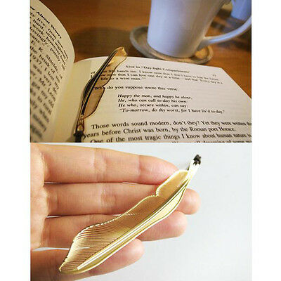 New Golden Animal Feather Bookmark Fiction Magazine Office School Supplies PE