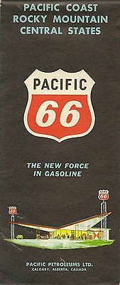 1969 PACIFIC 66 Road Map Western + Central United States Rocky Mountains Gousha