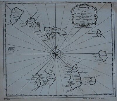 Original Antique 1744 Thomas Kitchin Map CAPE VERDE ISLANDS Compass Rose Volcano