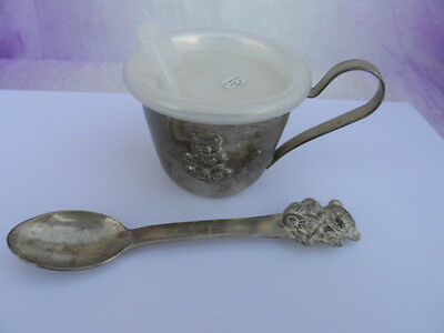 VINTAGE Silver Plate Teddy Bear Embossed set Sippy Baby Cup and Spoon