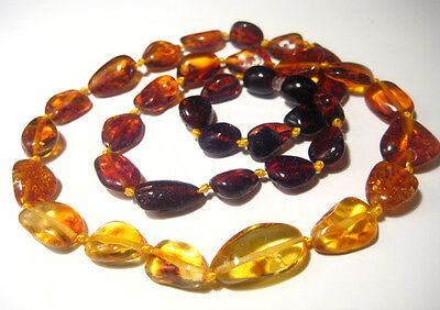 """Real  BALTIC  AMBER Necklace 20"""" long  Rainbow"""