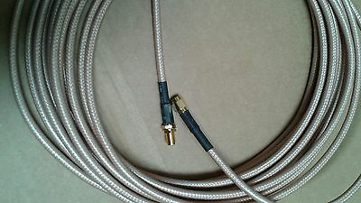 US MADE  SMA plug  TO  SMA jack  MIL- RG-400 coax cable  30 ft  (50 ohm)