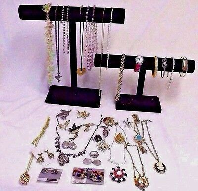LOT OF COSTUME JEWELRY - 40+ PIECES- SOME VINTAGE, STERLING, MINNIE MOUSE WATCH+