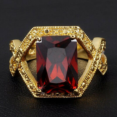 Sz 9,10,11 Jewelry Mens Jewelry Red Garnet Yellow Gold Filled Huge Cross Ring