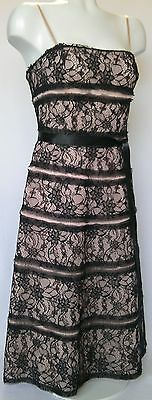 NEW, NWT, BCBG, Women's, Pink w Blk Lace, Mid-Calf, Ball Gown, Sz 6 (Orig $340)