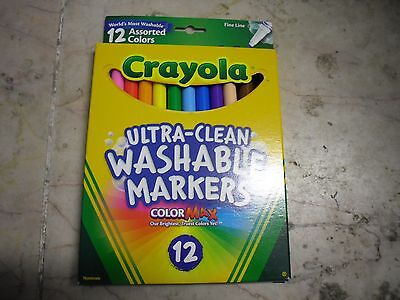 New ! 12 PK Crayola Washable Marker, Assorted Colors 58-7813