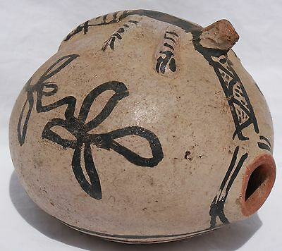 1920's Cochiti Pueblo Indian Pottery Polychrome Canteen W/Figural Lizard