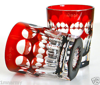 PAIR FABERGE NA ZDOROVYE VODKA SHOT GLASSES, RUBY RED CASED CRYSTAL, SIGNED NEW