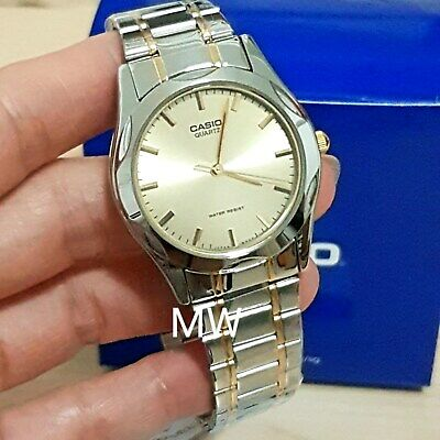 New Casio Two Tone Gold Stainless Steel Analog Men Dress Watch MTP-1275SG-9A