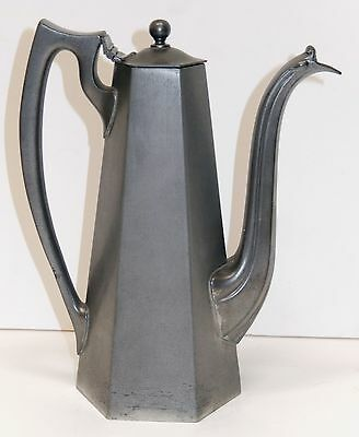 Reed Barton Teapot Pitcher Soldered Pewter American Deco 1900's Hexagon 6 Side