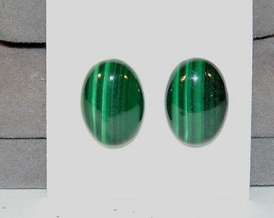 Malachite 13x18mm Cabochons Set of 2 from Africa (7563)