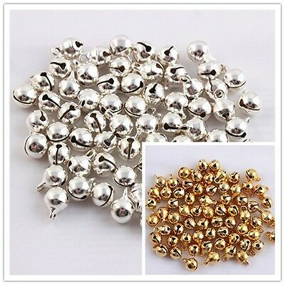 50/200pcs Jingle Bells Charm gold-plated silver jewelry fittings beads 6mm