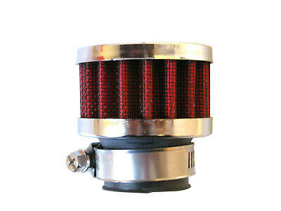 """Breather Filter 25mm Neck RED/CHROME Universal Crankcase Fitment, Vent 1"""" Inch"""