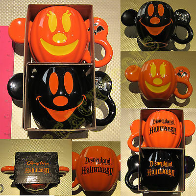New Authentic Disney Parks Mickey Minnie Mouse Halloween Pumpkin 2 Mug / Cup Set
