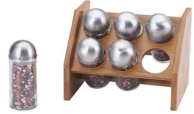 Renberg RB-4253 Wooden Bamboo Spice Rack & 6 Glass Spice Jars