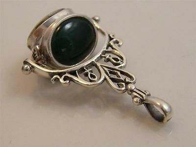 Sterling Silver Carnelian, Jade & Pearl 3 Sides Fob
