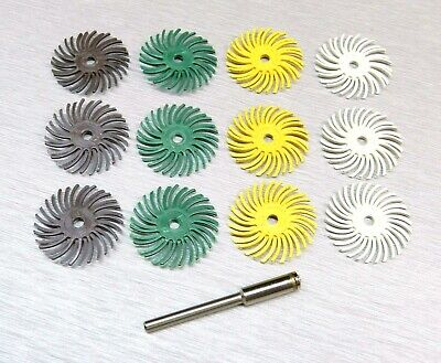 "3M Radial Bristle Discs 1"" Diameter 4 Grit Assortment 12 Brushes 1 mandrel 1/8"""