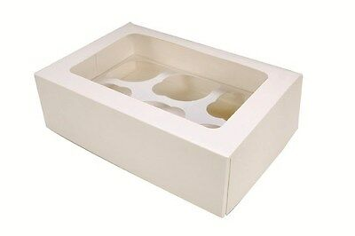 2 x CUPCAKE MUFFIN BOX/BOXES PLAIN WHITE, EACH HOLDS 6 CAKES