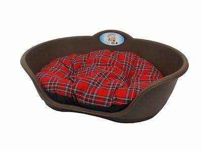 MEDIUM Plastic BROWN Pet Bed With RED TARTAN Cushion Dog Cat Sleep Basket