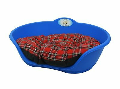 LARGE Plastic ROYAL BLUE Pet Bed With RED TARTAN Cushion Dog Cat Sleep Basket