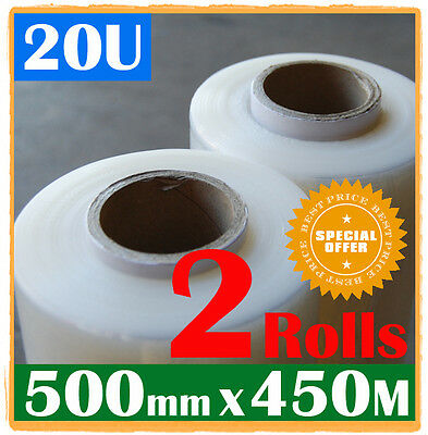 One CLEAR + One BLACK 500mm x 450m Meter - Hand Stretch Film Pallet Wrap