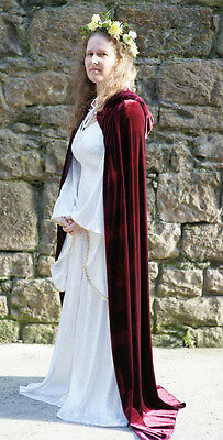 Medieval/Larp/Re enactment/Pagan/Wicca/HandFast BURGUNDY HOODED CLOAK all sizes