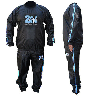 2Fit Sweat Suit SaunaSuit Gym Fitness Exercise Weight LossTrack Suit AntiRip BLU