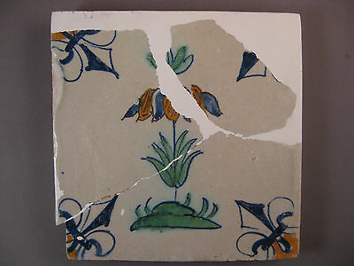Antique polychrome Dutch Tile flower rare 17th century -- free shipping