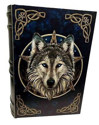 """Lisa Parker Design Wooden Book Box The Wild One Wolf 10.25"""" Length Decorative"""