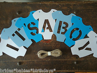 Kraft Blue White Boy Bunting Flags Banners Garland Onesies IT'S A BOY baby
