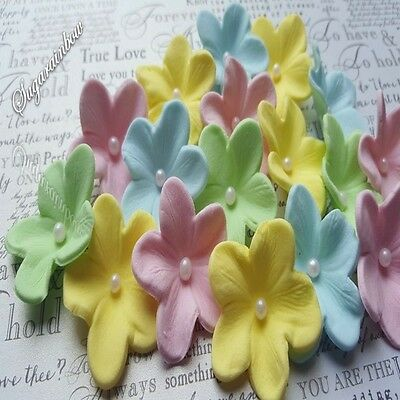 20 Edible sugar flowers blossoms for cake cupcake toppers pastel color theme