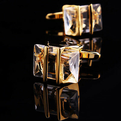 Gold White Crystal Mens Wedding Party shirt suits cufflinks cuff links