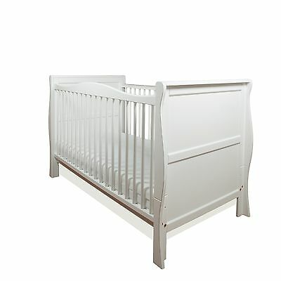 New Pinewood White Sleigh Cot Bed-Quality Safety Mattress-Baby Cotbed/junior Bed