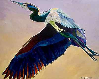FLIGHT OF THE HERON 8X10 BIRD  print by Artist Sherry Shipley