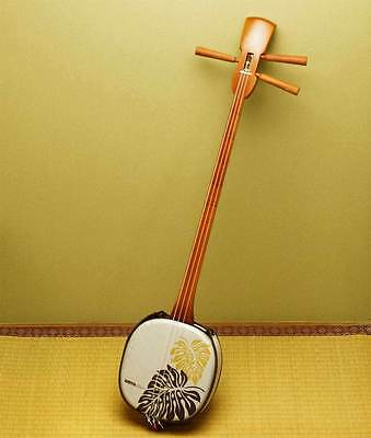 Traditional NEW WOOD Monstera Cream Sanshin Shamisen Okinawa Ryukyu