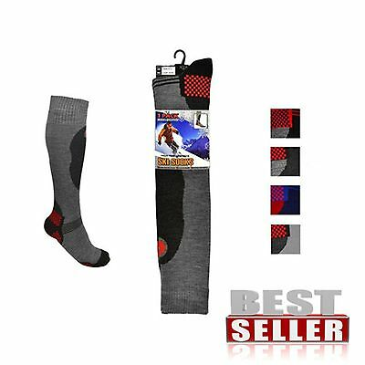 Mens High Perfomance Ski Thermal Padded Knee High Long Socks NEW Size6-11