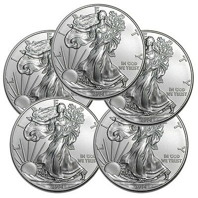 Lot of 5 - 2014 1oz American Silver Eagles - From Original Roll - Uncirculated