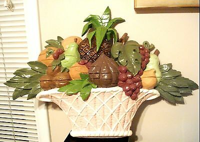 Vintage 1965 Syroco Large Fruit Basket Wall Plaque Rare U.S. A.