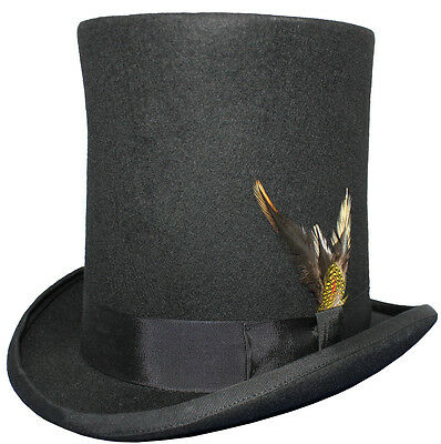 "100% Wool 8"" Tall Satin Lined High Top Lincoln Victorian Hat With Feather"