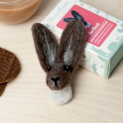 Mini Hare Head Brooch - Needle Felting Kit - Make Your Own - British Wool Craft