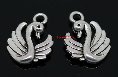 Wholesale 20pcs Tibet Silver two-sided swan Jewelry Finding Charm Pendants 17mm