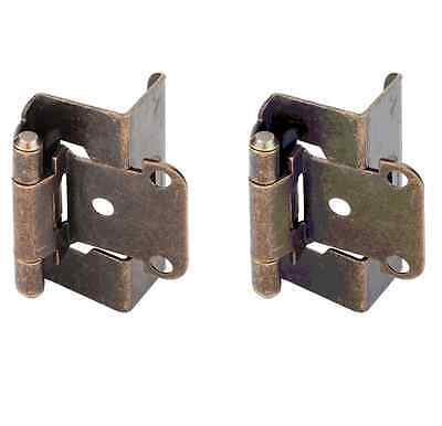 2 PK Full Wrap Self Closing Cabinet Hinge Steel Base Antique Brass Finish 34924