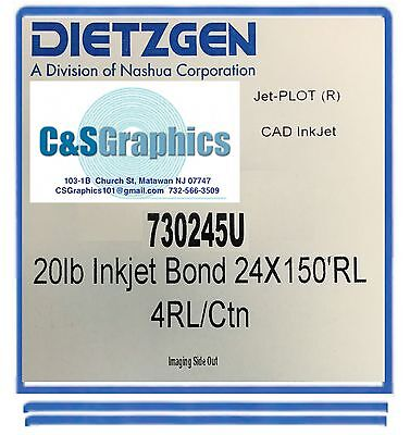 "4 Rolls 24""x150' 20lb Bond HP DesignJet Plotter Paper 2"" core 92 Bright white"