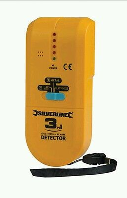 Silverline 3 in 1 Detector Detects Studs Joists Live Wires Metal Objects 477936